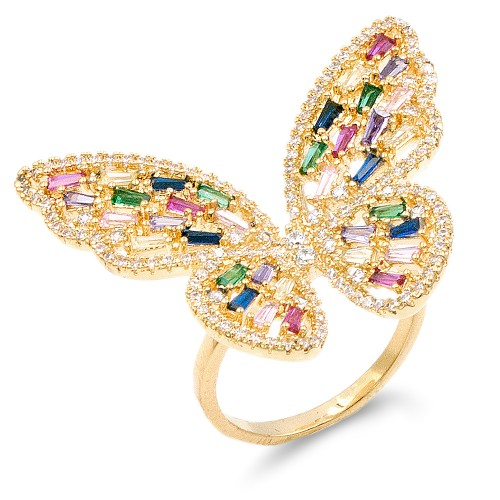 Gold Plated With Multi Color CZ Cubic Zirconia Butterfly Adjustable Rings