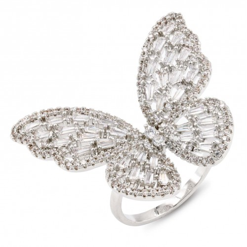 Rhodium Plated With Clear CZ Cubic Zirconia Adjustable Butterfly Rings