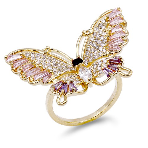 Gold Plated With Multi Color CZ Butterfly Adjustable Rings