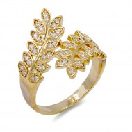 Gold Plated With CZ Cubic Zirconia Pave Wreath Leaf Adjustable Rings