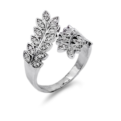 Rhodium Plated With CZ Cubic Zirconia Pave Wreath Leaf Adjustable Rings