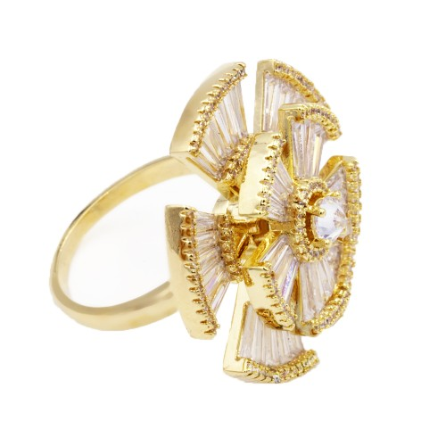 Gold Plated With CZ Cubic Zirconia Adjustable Rings