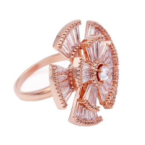 Rose Gold Plated With CZ Cubic Zirconia Adjustable Rings