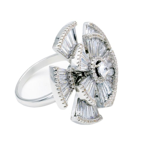 Rhodium Plated With CZ Cubic Zirconia Adjustable Rings