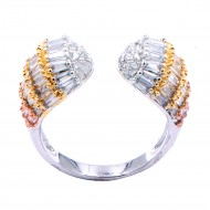 Three Tone Plated WIth CZ Cubic Zirconia Adjustale Rings