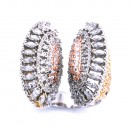 Three Tone Plated WIth CZ Cubic Zirconia Pave Adjustale Ring