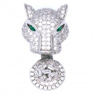 Rhodium Plated With Clear CZ Cubic Zirconia Jaguar-Shaped Adjustable Rings