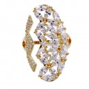 Gold Plated With Cubic Zirconia Adjustable Ring