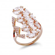 Rose Gold Plated With Cubic Zirconia Adjustable Ring