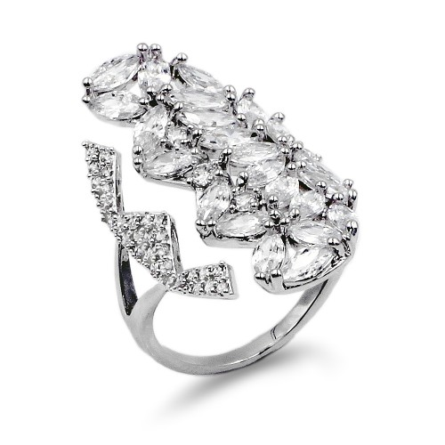 Rhodium Plated With Cubic Zirconia Adjustable Ring