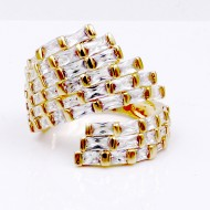 Gold Plated Clear CZ Adjustable Ring