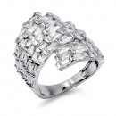Rhodium Plated Clear CZ Adjustable Ring