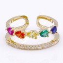 Gold Plated With Multi Color CZ Adjustable Rings