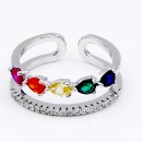 Rhodium Plated With Multi Color CZ Adjustable Rings