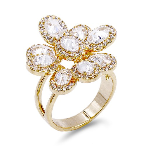 Gold Plated With CZ Flower Adjustable Rings