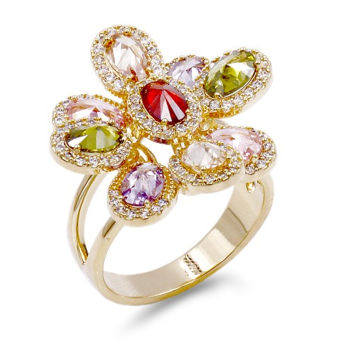 Gold Plated With Multi CZ Flower Adjustable Rings