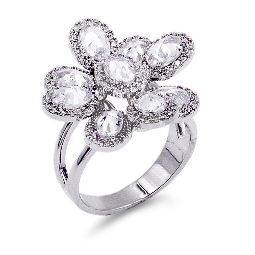 Rhodium Plated With CZ Flower Adjustable Rings