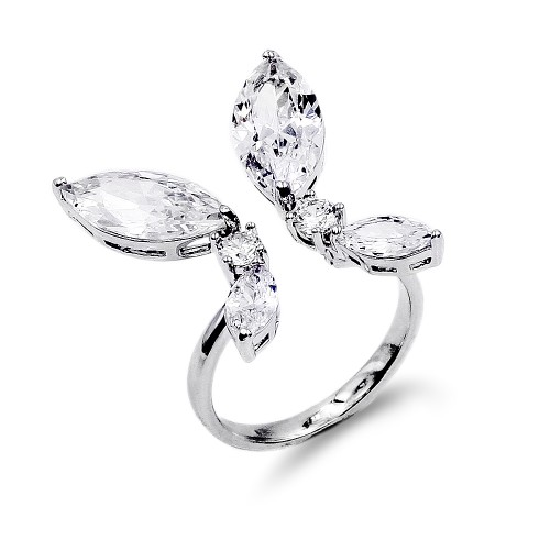 Rhodium Plated Cubic Zirconia Adjustable Butterfly Rings