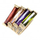 Gold Plated With Multi Color CZ Cocktail Rings Sized Rings