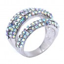 Rhodium Plated With AB Crystal Sized Ring