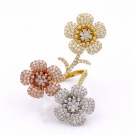 3-Tones Plated with Flowers CZ Cubic Zirconia Adjustable Ring