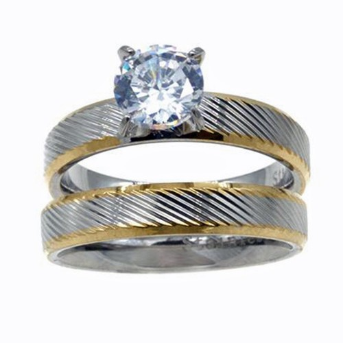 Two Tones Plating CZ Stainless Steel 2PCs Wedding Ring Set