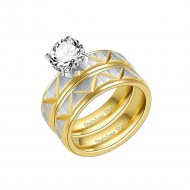 Gold Plated Stainless Steel Wedding Set Rings, Size 7
