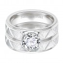 Clear Cubic Zirconia 2 pcs Two Tone Matt Stainless Steel Wedding Sets 5MM Engagement Ring