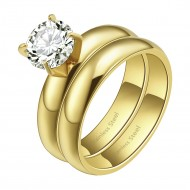 Gold Plated CZ Stainless Steel 2PCs Wedding Ring Set