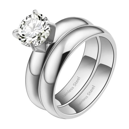 Rhodium Plated CZ Stainless Steel 2PCs Wedding Ring Set