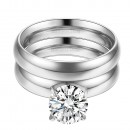 Rhodium Plated CZ Stainless Steel 2PCs Wedding Ring Set