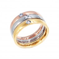 3 Tones Plated Stainless Steel 3 PCs Wedding Rings