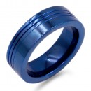 8mm Blue Tone with Stainless Steel Men's Ring