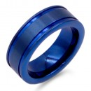 8mm Blue Tone Stainless Steel Men's Ring