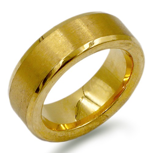 8mm Gold Plated with Stainless Steel Men's Ring