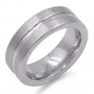 8mm Rhodium Plated with Stainless Steel Men's Ring