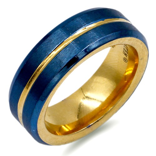 8mm Gold Plated With Blue Tone Stainless Steel Men's Ring