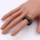 8mm Black Tone Stainless Steel Men's Ring