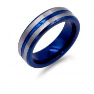 8mm Rhodium Plated With Blue Tone Stainless Steel Men's Ring