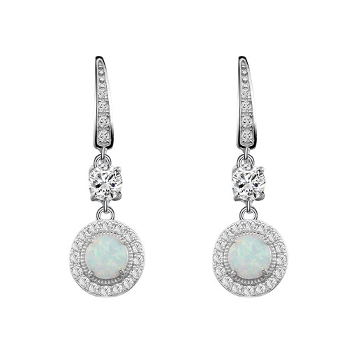 925 Sterling Silver Rhodium Plated with Round White Opal & Clear Cubic Zirconia CZ Stones Bridal Earrings for Women Girls
