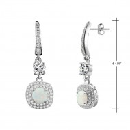 925 Sterling Silver Rhodium Plated with Round White Opal & Clear Cubic Zirconia Stones Bridal Earrings for Women Girls