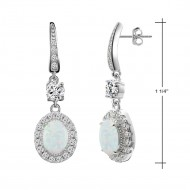925 Sterling Silver Rhodium Plated with Oval Opal and Clear Cubic Zirconia Stones Bridal Earrings for Women Girls