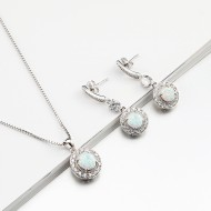 925 Sterling Silver Rhodium Plated Necklace and Earrings Sets with Round White Opal and Clear Cubic Zirconia CZ Stones and Italian Box Chain for Women