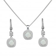 925 Sterling Silver Rhodium Plated Necklace and Earrings Sets with Round White Opal and Clear Cubic Zirconia Stones and Italian Box Chain for Women
