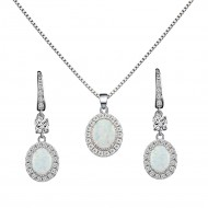 925 Sterling Silver Rhodium Plated Necklace and Earrings Sets with Oval White Opal and Clear Cubic Zirconia CZ Stones and Italian Box Chain for Women