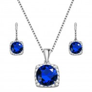 Rhodium Plated with Sapphire Blue Sqaure CZ Neckalce and Earring Set