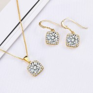 Gold Plated with Clear Sqaure CZ Neckalce and Earring Set