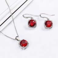 Rhodium Plated with Ruby Red Sqaure CZ Neckalce and Earring Set