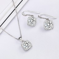 Rhodium Plated with Clear Sqaure CZ Neckalce and Earring Set