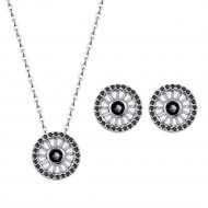 Rhodium Plated with Black Cubic Zirconia Round Pendent Necklace Earring Set